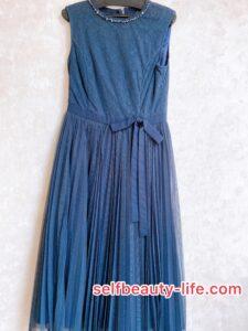 (シクセ購入品)レーシーチュールプリーツドレス